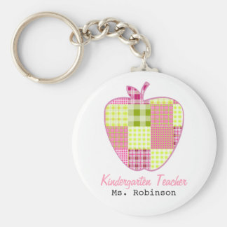 Plaid Apple Kindergarten Teacher Keychains