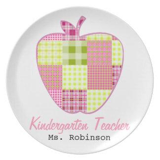 Plaid Apple Kindergarten Teacher Plates