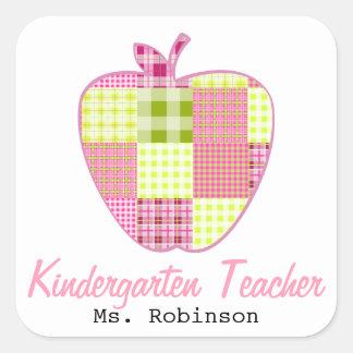 Plaid Apple Kindergarten Teacher Square Sticker