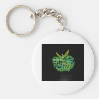 plaid apple on black basic round button keychain