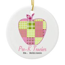 Plaid Apple Pre-K Teacher Ceramic Ornament