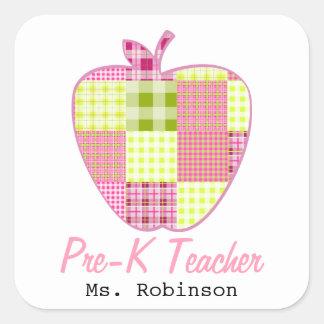 Plaid Apple Pre-K Teacher Square Sticker