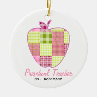 Plaid Apple Preschool Teacher Double-Sided Ceramic Round Christmas Ornament