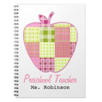 Plaid Apple Preschool Teacher Notebook