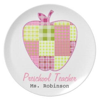 Plaid Apple Preschool Teacher Dinner Plates