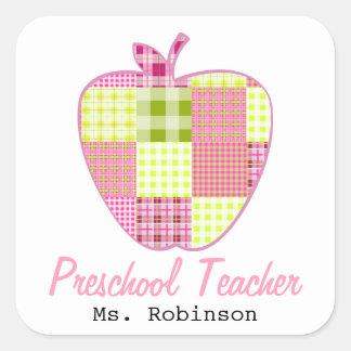 Plaid Apple Preschool Teacher Square Sticker