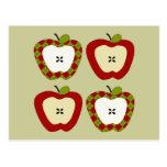 Plaid Apple Quartet Postcard
