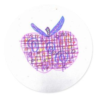 Plaid Apple sticker