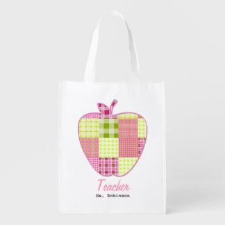 Plaid Apple Teacher Grocery Bag Market Tote