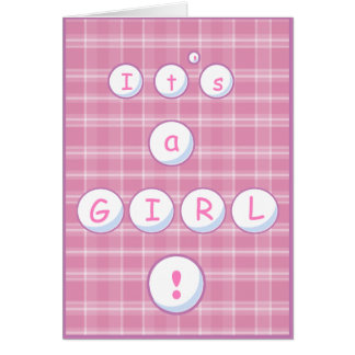 Plaid Baby Announcement Greeting Card