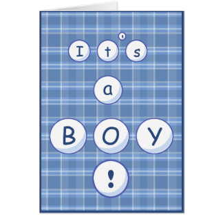 Plaid Baby Announcement Greeting Cards