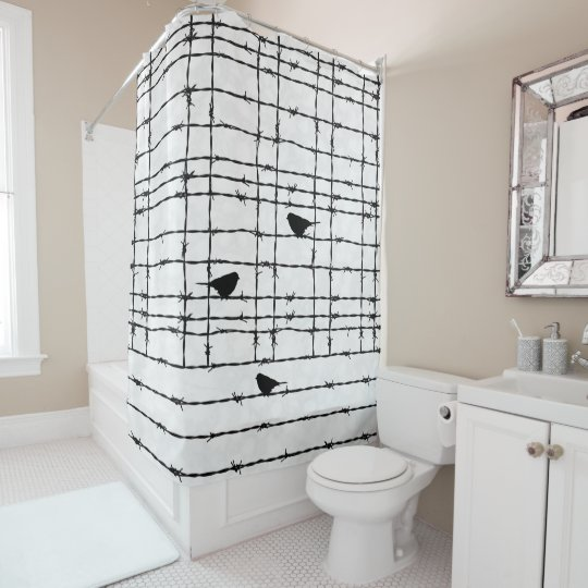 Peachy Plaid Barbed Wire And Birds Black And White Goth Shower Curtain Creativecarmelina Interior Chair Design Creativecarmelinacom
