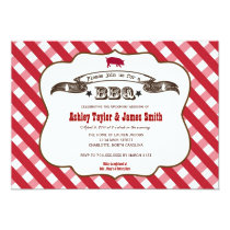 Plaid BBQ Pig Invitation