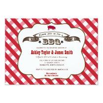 Plaid BBQ Pig Invitation