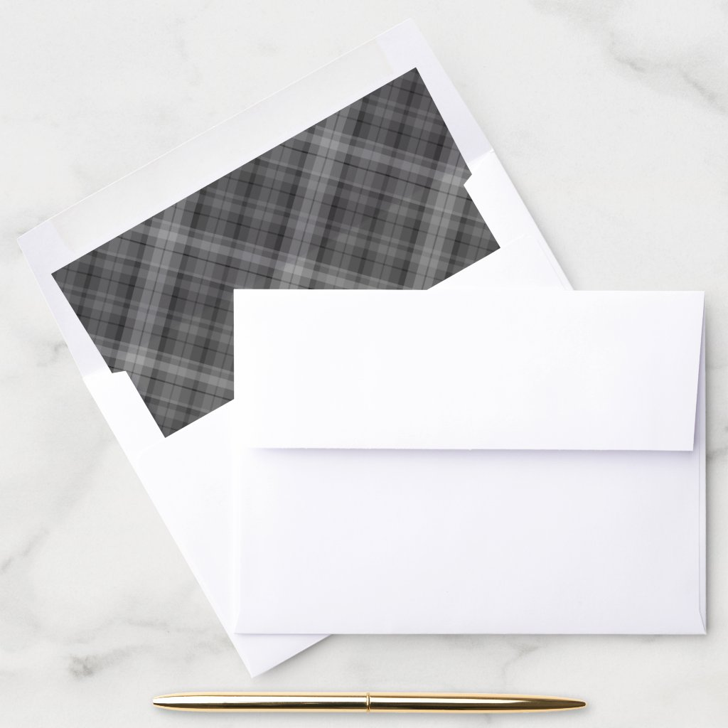 Plaid Black and White Christmas Card Envelope Liner