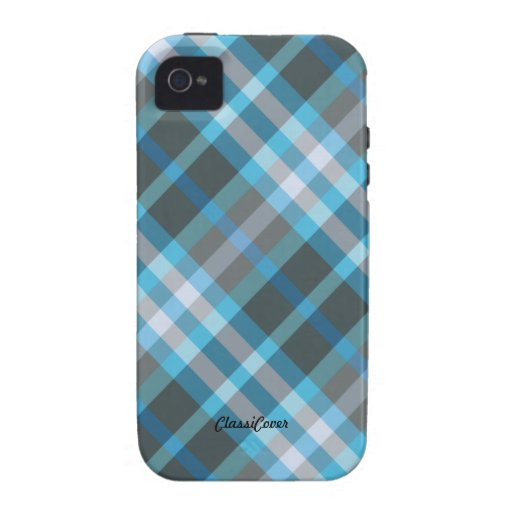 Plaid Blue Gray Pattern Case Mate iPhone 4/4S Cover