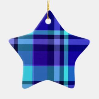 Plaid Blue Purple Ceramic Ornament