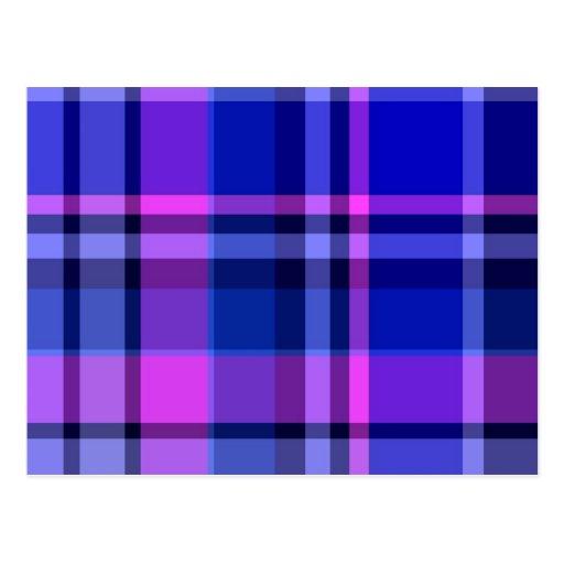 Plaid Blue Purple-Pink Post Cards