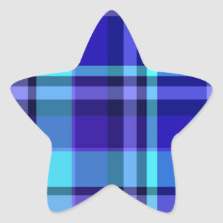Plaid Blue Purple Star Sticker