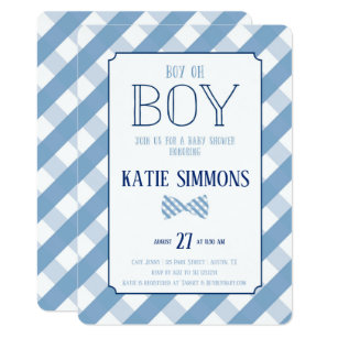 Plaid Bow Tie Southern Baby Boy Shower Invitation