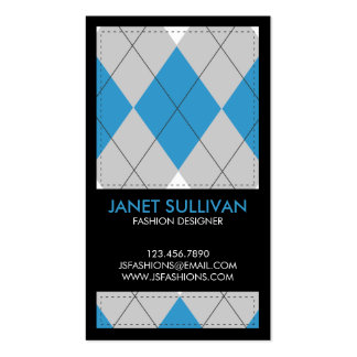 Plaid Box Pattern - Blue Double-Sided Standard Business Cards (Pack Of 100)