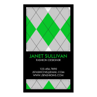Plaid Box Pattern - Green Double-Sided Standard Business Cards (Pack Of 100)