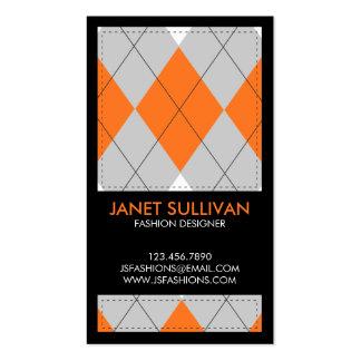 Plaid Box Pattern - Orange Business Card