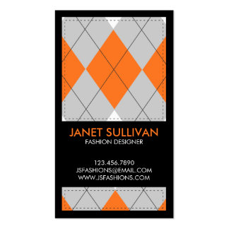 Plaid Box Pattern - Orange Double-Sided Standard Business Cards (Pack Of 100)