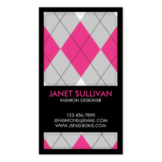 Plaid Box Pattern - Pink Business Card