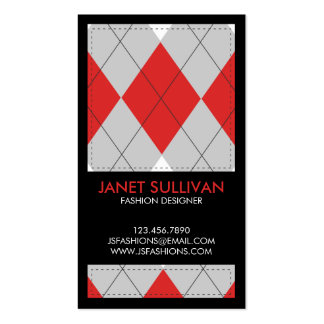 Plaid Box Pattern - Red Double-Sided Standard Business Cards (Pack Of 100)