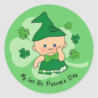 Plaid Boy 1st St. Patrick's Day Classic Round Sticker