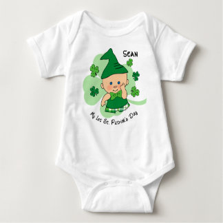 Plaid Boy 1st St. Patrick's Day Custom Baby Bodysuit