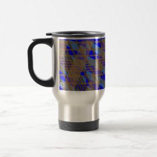 Plaid Brown Blue Stripe Travel Mug