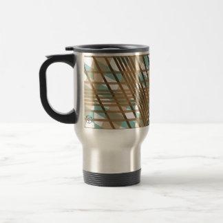 Plaid Brown Green Stripe Travel Mug