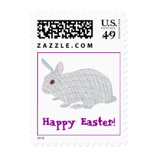 Plaid Bunny, Happy Easter, postage stamps