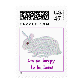 Plaid Bunny I'm so hoppy to be here postage stamps