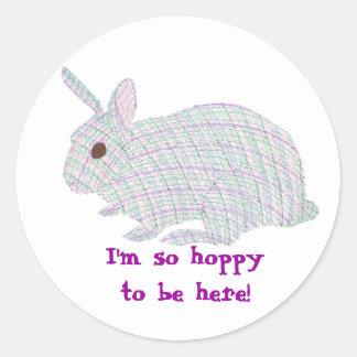 Plaid Bunny,  I'm so hoppy to be here stickers