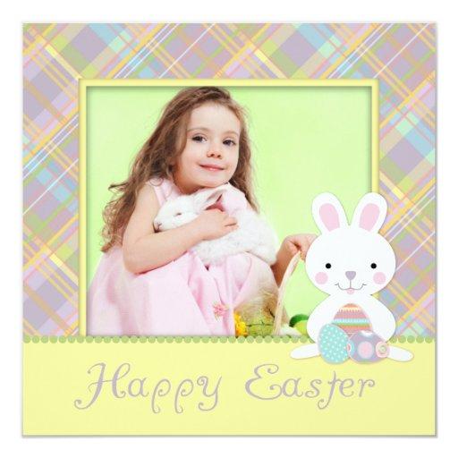 """Plaid Bunny Invitation Square 2 5.25"""" Square Invitation Card"""