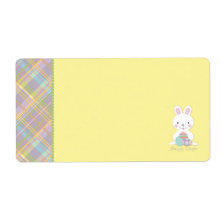 Plaid Bunny Name Tag Personalized Shipping Label