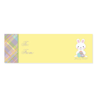 Plaid Bunny Skinny Gift Tag Business Card Templates