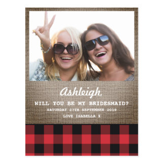Plaid & Burlap Photo Will You Be My Bridesmaid Postcard