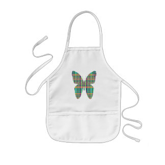 plaid  butterfly kids' apron