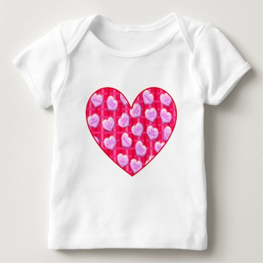 Plaid Candy Hearts Baby T-Shirt