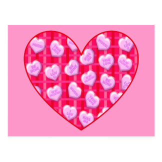 Plaid Candy Hearts Post Card
