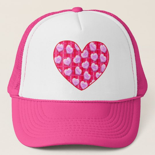 Plaid Candy Hearts Trucker Hat
