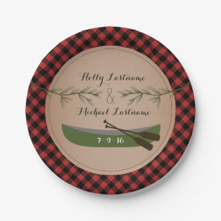 Plaid Canoe + Evergreen Tree Rustic Wedding 7 Inch Paper Plate