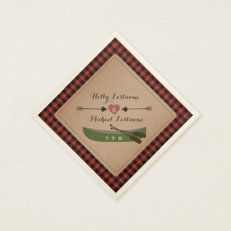 Plaid Canoe + Heart With Arrows Rustic Wedding Paper Napkin