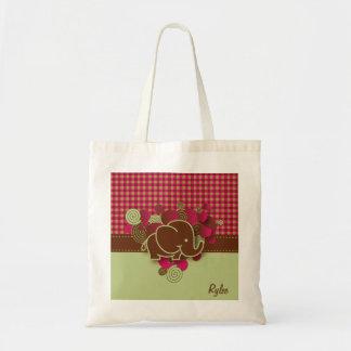 Plaid Checker Elephant Design | Dark Pink Brown Budget Tote Bag