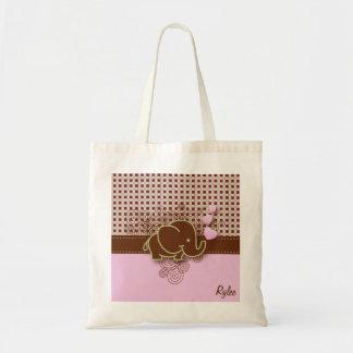 Plaid Checker Elephant Design | Pink Brown Green Budget Tote Bag