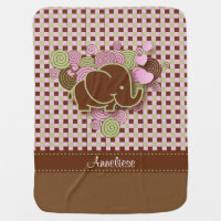Plaid Checker Elephant Design | Pink Brown Green Receiving Blanket